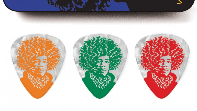 Johnny Cash and Jimi Hendrix-themed picks and tins